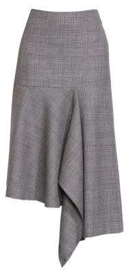 Balenciaga Women's Prince of Wales Virgin Wool Godet Skirt - Black White - Size 34 (0)