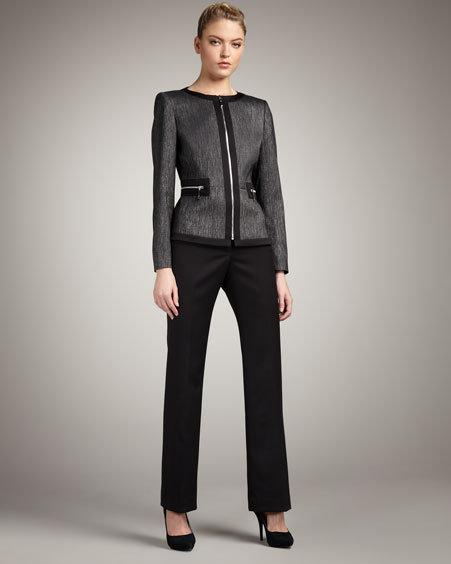 Albert Nipon Front-Zip Denim & Sateen Suit