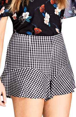 City Chic Cute Gingham Flutter Shorts