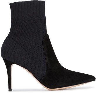 Gianvito Rossi Black Suede knitted 90 sock boots