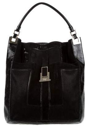 Anya Hindmarch Patent Leather-Trim Suede Satchel