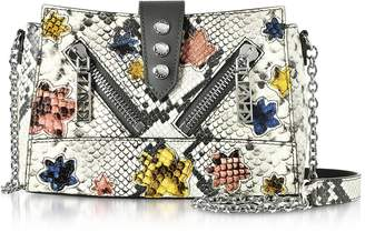 Kenzo Anthracite Gommato Leather Mini Kalifornia Handbag w/Python Print Shoulder Strap