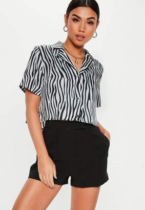 e71e1559d7038 Missguided Zebra Print Short Collar Crop Shirt