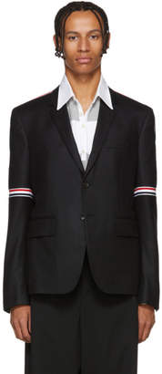 Thom Browne Black Flannel Stripe Seamed Blazer