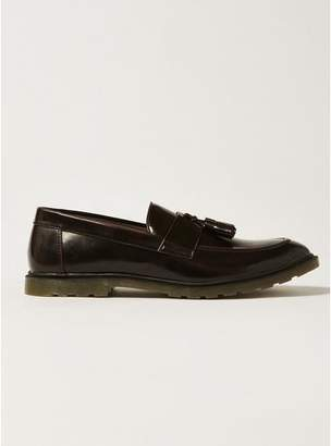 Topman Mens Red Burgundy Patent Preston Penny Loafers
