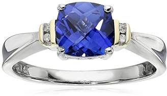Sterling Silver and 14k Yellow Gold Checkerboard Cushion-Cut Created Blue Sapphire and Diamond-Accent Ring