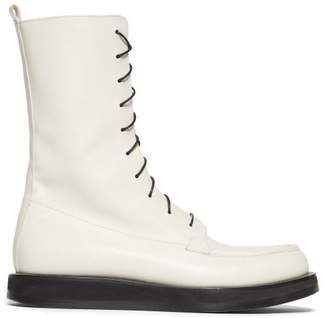 The Row Patty Lace Up Leather Boots - Womens - White