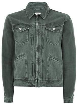 Topman Mens Green Zip Through Denim Jacket