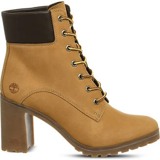 Timberland Ladies Brown EmBootsssed Feminine Allington 6 Leather Heeled Ankle Boots