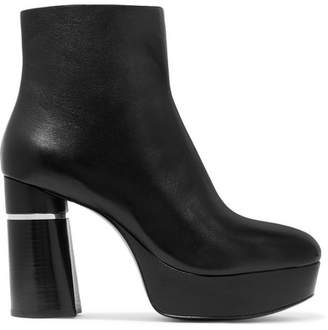 64f2b007011e Black Leather Look Platform Shoe Boots - ShopStyle UK
