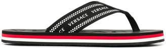 Versace logo print flip flops