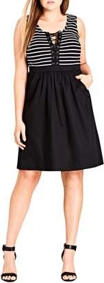 City Chic Ahoy Lace-Up Bodice Dress