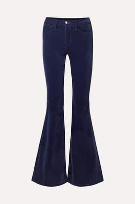 L'Agence Solana Flared Cotton-blend Velvet Pants - Navy