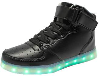 Feicuan Unisex Adults LED Light High Top Sneakers USB Charging Running Shoes