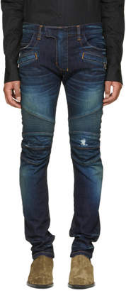 Balmain Blue Vintage Distressed Biker Jeans