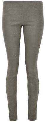 Rick Owens Stretch Suede And Cotton-Blend Leggings