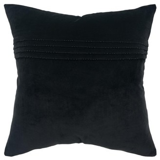 """Rizzy Home Decorative Throw Pillow Cover Solid 20""""X20"""" Black"""