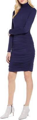 Halogen Side Ruched Turtleneck Dress