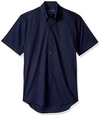Buttoned Down Men's Slim Fit Stretch Button-Collar Short-Sleeve Non-Iron Shirt