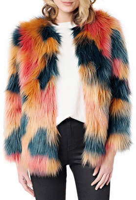 Fabulous Furs Cosmopolitan Multicolor Faux Fur Coat