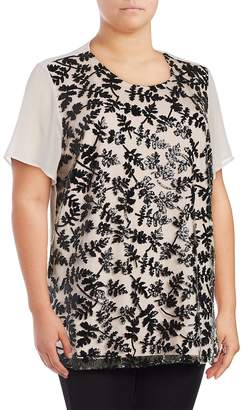 Chaus New York Women's Short Sleeve Sequined Embroidered Blouse - Black White, Size 2x (18-20)