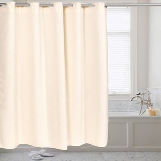 At Walmart Generic Fabric Shower Curtain Waffle Weave Hookless With Snap Off Liner
