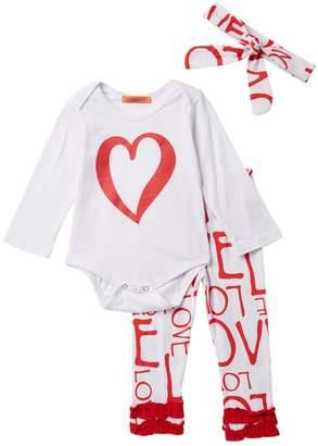 Funkyberry Love Bodysuit, Leggings & Headband 3-Piece Set (Baby & Toddler Girls)
