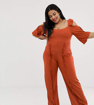 Lost Ink Plus Cold Shoulder Jumpsuit With Frill Leg Detail In Textured Fabric