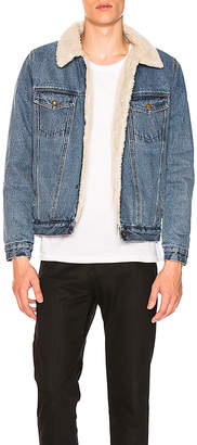 ROLLA'S Denim Sherpa Faux Fur Jacket.