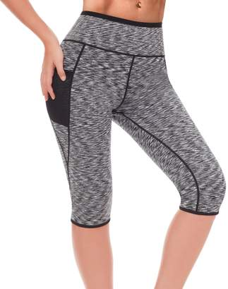 LAZAWG Women Sauna Yoga Pants Sweat Capri Running Legging Weight Loss with Pocket