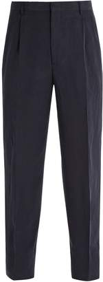 Giorgio Armani Pleated front linen-blend trousers