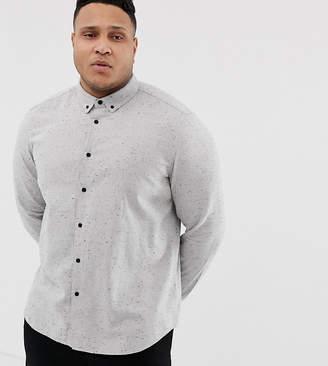 Asos Design DESIGN Plus regular fit nep shirt in gray