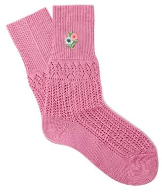 Gucci Floral Embroidered Pointelle Knit Ankle Socks - Womens - Pink