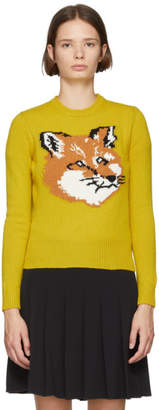 MAISON KITSUNÉ Yellow Fox Head Sweater