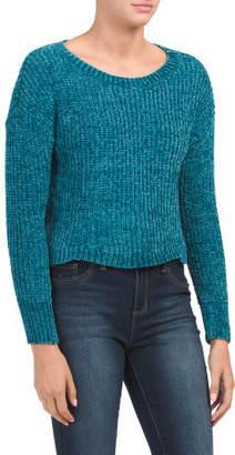Chenille Scallop Hem Crop Sweater