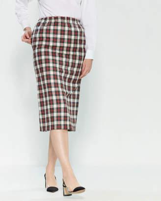 Hache Plaid Midi Skirt