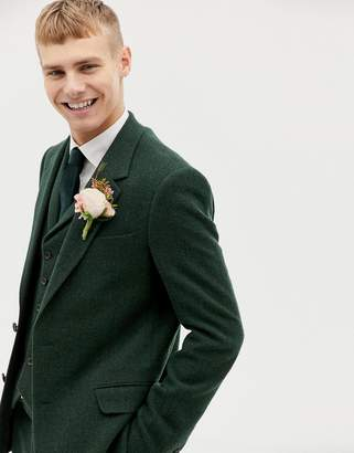 Asos Design DESIGN wedding slim suit jacket in green wool mix herringbone