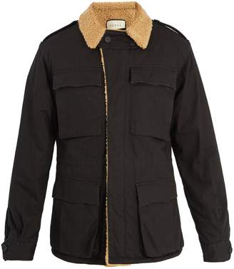 Gucci Logo-print faux-shearling jacket