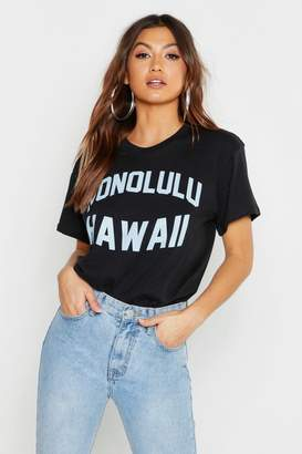 boohoo Pastel Hawaii Slogan T-Shirt