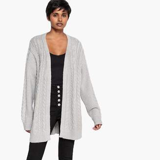 2c00c6822d685 La Redoute COLLECTIONS Glittery Cable Knit Open Cardigan