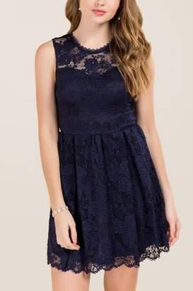francesca's Myrah Lace A-line Dress - Navy