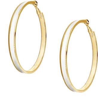 Tuleste White & Gold Enamel Channel Hoop Earrings