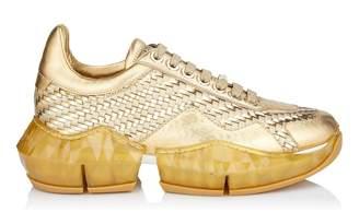 Jimmy Choo DIAMOND/F Gold Metallic Nappa and Woven Shiny Fabric Low Top Trainers
