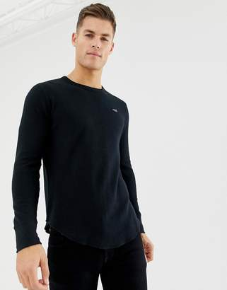 Hollister icon logo waffle long sleeve top in black