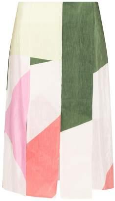 Tibi Pieza Printed Paneled Skirt