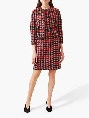 Angeline Textured Check Jacket, Red/Multi