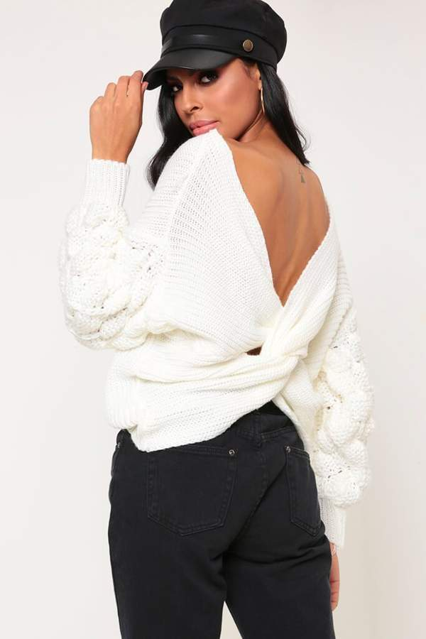 Isawitfirst Cream Chunky Twist Back Jumper