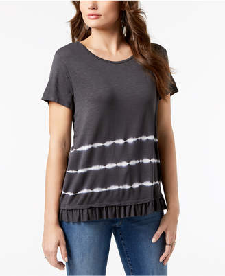 Style&Co. Style & Co Tie-Dyed Ruffle-Hem T-Shirt, Created for Macy's