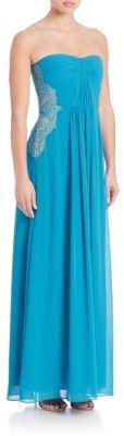 BCBGMAXAZRIAAshby Strapless Lace-Trim Gown