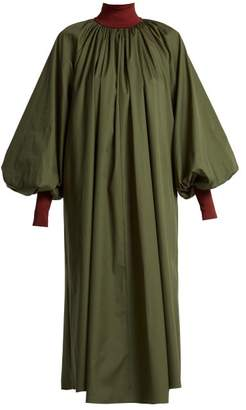 Roksanda Cressida Bishop Sleeve Cotton Dress - Womens - Green Multi